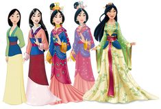 Photo of Mulan Dress Evolution for fans of Disney Princess. Mulan's changing dress over the years
