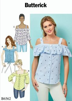 ef0463af7f5e1e Items similar to Sewing Pattern Womens Blouse Pattern, Off Shoulder Blouse  Pattern, Button Front Blouse Pattern, Butterick Sewing Pattern 6562 on Etsy