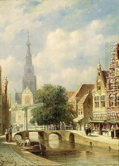A Town Scene In Summer, Alkmaar Painting by Pieter Gerard Vertin Reproduction Most Famous Paintings, Medieval Life, Dutch Painters, Dutch Artists, Oil Painting Reproductions, Fantasy Landscape, Art World, Netherlands, Slot