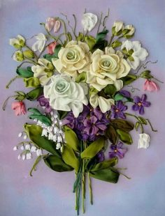 Ribbon embroidery bouquet