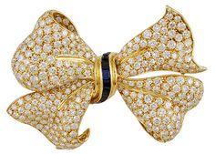 18kt. Gold Diamond & Sapphire Bow Brooch -