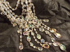 Stunning Joan Rivers Grand Finale Sim AB Clear Dangle 4 Strand Necklace | eBay