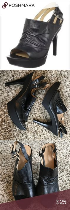 """Nine West Black Leather Upper Sandal - NWALTAN About a 5"""" heel. 2 buckles. Heel wrapped in ribbon-style cloth. Nine West Shoes Sandals"""