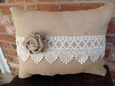Natural Colored Burlap Pillow with Beautiful Lace by cindidavis1
