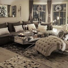 Love this grey intimate living room