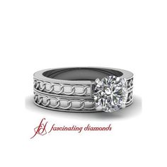 Prong Set Solitaire Hand Engraved Vintage Style Diamond Wedding... ($1,307) via Polyvore