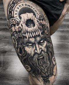 Viking Tattoos 57998 Tattoo by Bull Skull Tattoos, Skull Tattoo Design, Leg Tattoos, Sleeve Tattoos, Tattoos For Guys, Tattoo Designs, Viking Tattoo Design, Viking Tattoo Sleeve, Norse Tattoo