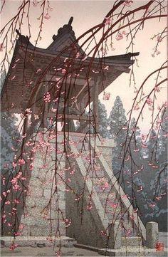 Toshi Yoshida, Heirinji Temple Bell, 1951... IT'S A PICTURE..LOOKS LIKE A PAINTING