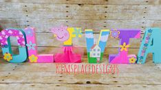 Kim's Place Designs - Kim's Place Designs specializes in creating Custom Letters Sets in any theme. Peppa Pig Birthday Cake, Boy Birthday, Peppa Pig Party Supplies, Cumple Peppa Pig, 1st Birthday Photos, Diy Birthday Decorations, Art Wall Kids, Art Kids, Wall Art
