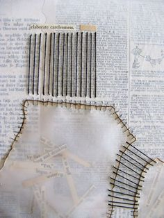 combining stitching and collage Mixed Media Collage, Collage Art, Painting Collage, Painting Abstract, Acrylic Paintings, Altered Books, Altered Art, A Level Art, Paper Embroidery