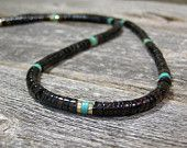 Mens Necklace - Heishi Necklace - Turquoise Necklace - Mans Jewelry - Beaded Necklace - Choker Necklace