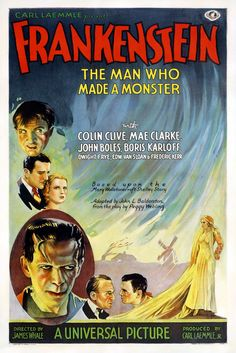 Frankenstein is a 1931 American pre-Code horror monster film from Universal Pictures directed by James Whale and adapted from the play by Peggy Webling (which in turn is based on the novel of the same name by Mary Shelley Horror Movie Posters, Old Movie Posters, Classic Movie Posters, Classic Horror Movies, Movie Poster Art, Poster S, Classic Films, Film Posters, Retro Posters