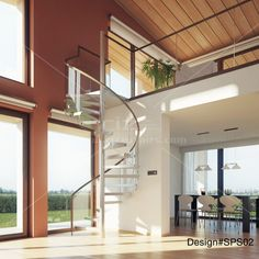 Modern spiral glass stairs, with glass balustrade