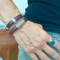 Set of two leather bracelets, stacking bracelets $62 @ IndieLeather