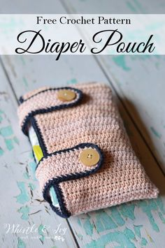 """Free Crochet Pattern: Crochet Diaper Pouch Avoid the dreaded """"mashed diaper!"""" Grab diapers sans diaper bag and keep everything crisp and together. Crochet For Kids, Cute Crochet, Knit Crochet, Crochet Diaper Bag, Crochet Crafts, Crochet Projects, Pouch Pattern, Crochet Baby Clothes, Crochet Purses"""