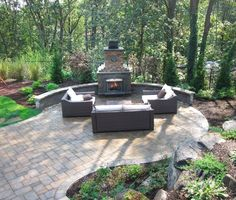 Can you picture this beautiful setting in your backyard? Outdoor fireplaces make outdoor living spaces warm and relaxing.