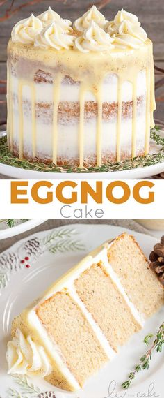 This Eggnog Cake with cream cheese frosting and white chocolate ganache is just the thing to warm you up this Holiday season! | livforcake.com