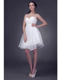 Beautiful Ball Gown Sweetheart Mini-Length Satin and Organza Wedding Dress