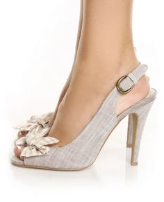 grey AND beige AND gingham AND bows ALL ON slingback heels?!