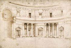 Raffaello Sanzio - Interno del Pantheon - c. 1506 - Degli Uffizi - Dipartimento di Stampe e Disegni - Firenze