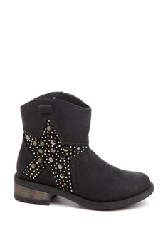 WANTED Deputy - studded & jeweled star design ankle boot