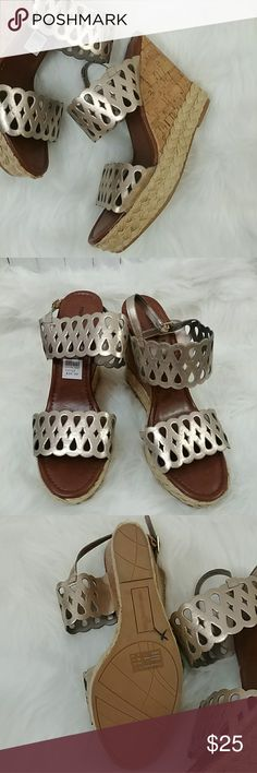 Montego Bay Gold Wedges Shoes Size 12 Womens Super cute New without box/tag Montego Bay Club Size 12 Eyelet Gold Eyelet Wedge Shoes. Montego Bay Club Shoes Wedges