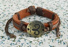 Aries brown leather bracelet12 by charmjewelrybracelet on Etsy, $7.99