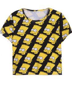 Black Short Sleeve Simpson Print Crop T-Shirt pictures