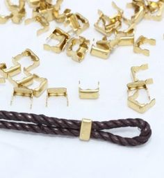 BAND 4mm Gunmetal CORD END TIP CONNECTOR TERMINATION FOLD OVER CRIMP 50pcs BAND RECTANGLE SQUARE
