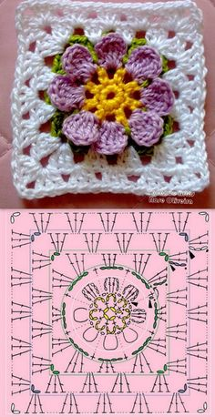 crochet granny square rose sExtremely beautiful and vibrant, this Free Daffodils Granny Square Crochet Pattern is simply amazing.Cute granny square with flower motif.Crochet Diagram Flowers - crochet owl of african hexagone chart. Crochet Flower Squares, Flower Granny Square, Crochet Motifs, Granny Square Crochet Pattern, Crochet Blocks, Crochet Diagram, Crochet Chart, Crochet Granny, Love Crochet