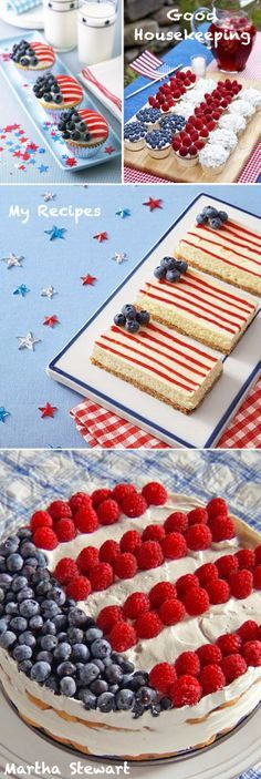 Cute Dessert Ideas inspired by the American Flag! Red - White - Blue // Stars and Stripes recipes