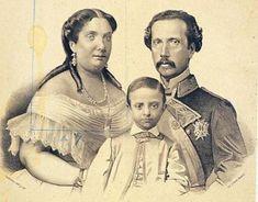 Isabel II con Francisco de Asís y el futuro rey Alfonso XII