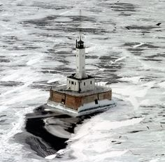 This Grays Reef Lighthouse is best viewed by boat or from the air.