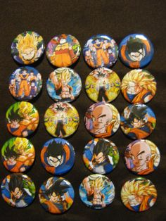 20 Pin Back Button Party Favors Dragonball Z 1.25 inch Buttons. $10.00, via Etsy.