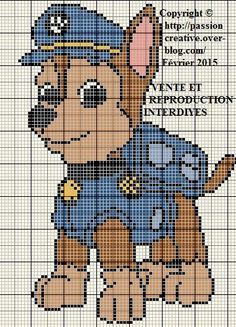paw patrol Isabelle x-stitch Animal Knitting Patterns, Knitting Charts, Knitting Machine Patterns, Cross Stitch Charts, Cross Stitch Designs, Cross Stitch Patterns, Plastic Canvas Crafts, Plastic Canvas Patterns, Chase Pat Patrouille