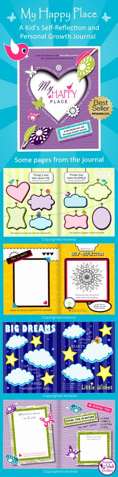 "Pages from ""My Happy Place"", a kid's self-reflection and personal growth journal. It makes a beautiful and meaningful gift for children. health coping skills health ideas health posters health promotion health tips Health Activities, Therapy Activities, Activities For Kids, Coping Skills, Life Skills, Daisy, Kids Health, Children Health, Health Tips"