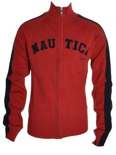 Nautica Boys Signature Knit Jacket Small Full Zip High Mock Neck Red Sweater NEW #Nautica #Cardigan #DressyEverydayHoliday