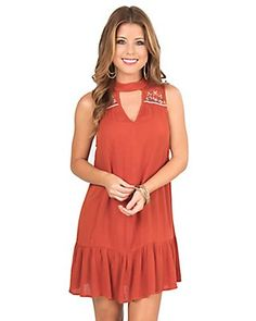 Flying Tomato Women's Rust with Floral Embroidered Lace Yoke Sleeveless  Dress