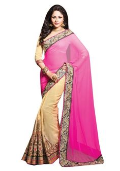 Mayloz Georgette Embroidered Saree Sari M215-14008-B At Aimdeals.com