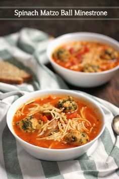 ... noodle matza ball soup with a minestrone base and spinach matza balls