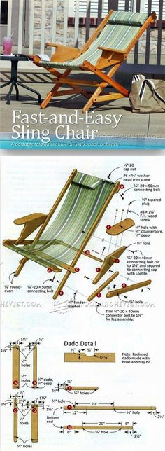 Sling Chair build, repair and replace fabric Outdoor Furniture Plans, Folding Furniture, Outside Furniture, Woodworking Furniture Plans, Woodworking Projects Plans, Wood Furniture, Diy Wood Projects, Furniture Projects, Wood Crafts