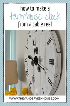 Knows 16000 projects Ideal for Beginners - How to make a whitewashed farmhouse clock from a wood cable reel Knows 16000 projects Ideal for Beginners - Builds up to 16000 Carpentry Projects - Get A Lifetime Of Project Ideas and Inspiration! Carpentry Projects, Easy Woodworking Projects, Woodworking Furniture, Woodworking Plans, Custom Woodworking, Woodworking Jigsaw, Furniture Repair, Popular Woodworking, Wood Furniture