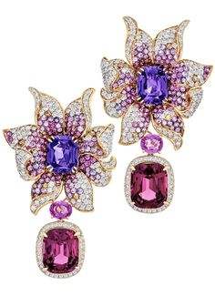 Margot McKinney Orchid earrings with purple sapphires 7.47 cts, tourmalines, sapphires and rhodolite drops of 12,94 cts