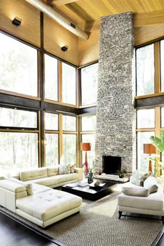 This room has a decent balance because the tall rock fireplace is a huge starting point but the intricacy of the roofing and the furniture on the ground with the very dark left corner it all helps to bring away from it.