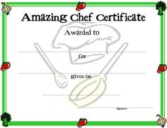 Certificate Template for Kids-Free Printable Certificate Templates, Kids Activity Certificate Templates, Chess Certificate Templates, Volunteer Certificate Templates, Boy Scout Certificate Template and more! Culinary Classes, Baking Classes, Cooking Classes For Kids, Culinary Arts, Kids Cooking Activities, Kids Cooking Recipes, Kids Meals, Kid Cooking, Cooking Oil
