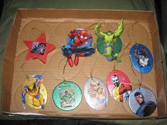 DIY- Superhero Ornaments. If you're doing a superhero tree you can use your childs action figures as decorations too. Wrap the bigger ornament hooks around the necks of most, for instant ornaments. Great for a bedroom tree.