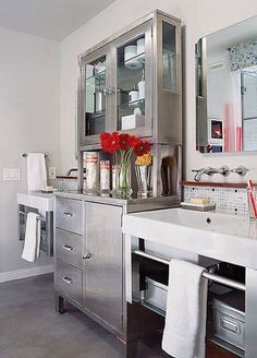 Space-expanding design and a tongue-in-cheek medical motif provide a big shot in the arm to a compact bath: http://www.bhg.com/bathroom/small/small-bathroom-ideas-contemporary-style-baths/?socsrc=bhgpin030914smallbathroom&page=3