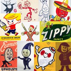 vintage mascots...inspiration for kickball team names and mascots.  I like Frosty Boy and Lightening Man