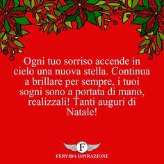 Ogni tuo sorriso accende in cielo una nuova stella. Continua a brillare per sempre, i tuoi sogni sono a portata di mano, realizzali! Tanti auguri di Natale! #Natale #BuonNatale #Auguri #FrasiAuguri #FrasiNatale #frasifamose #aforismi #citazioni #FervidaIspirazione Stella, Movie Posters, Smile, Sky, Film Poster, Billboard, Film Posters