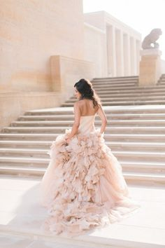 Pink wedding dress perfection: http://www.stylemepretty.com/2015/01/02/elegant-cranbrook-gardens-art-museum-wedding/   Photography: Blaine Siesser - http://www.blainesiesser.com/